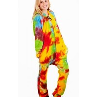 Tie Dye Deluxe Footed Adult Onesuits, Footed Pajamas, One Oiece Footie PJs
