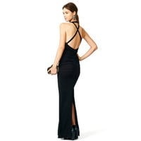Black Halter Cross Back Ruched Maxi Dress with Slit