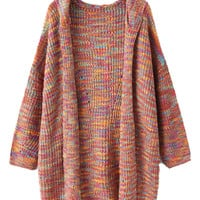 Multicolor Knitted Hooded Cardigan