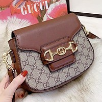 GUCCI Fashion New More Letter Leather Shopping Leisure Shoulder Bag Crossbody Bag Brown