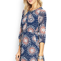 FOREVER 21 Abstract Fit & Flare Dress Blue/Rust