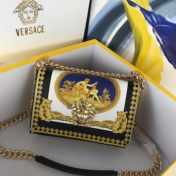 VERSACE WOMAN'S YELLOW LEATHER Frosted HOT DRILL INCLINED CHAIN SHOULDER BAG