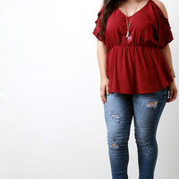 Ruffle Cold Shoulder Ruched Midriff Top