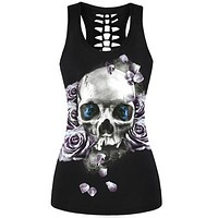 2017 3D Skull Printed Black Short Tops Sleeveless T Shirt