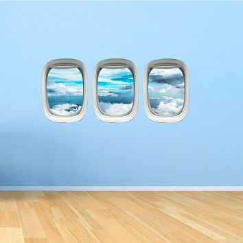 Airplane Window Decals Peel and Stick Pack of 3 Windows - PPW38