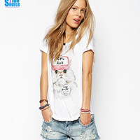 Womens Pink Hat Fluffy Cat Printed Casual T-Shirt
