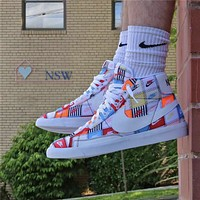 Nike Blazer Mid Patchwork retro high-top graffiti stitching sneakers shoes