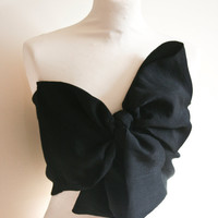 Black, Bow Top - Bandeau Style - Fifties Inspired