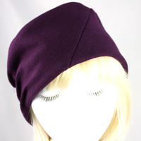 Deep Purple Wool Hat for Women | Warm Winter Pillbox Cloche | Fall Winter Hat in Wool Womens Size Small