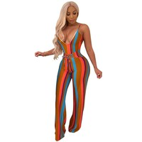 Women Sexy Striped Sleeveless Jumpsuit