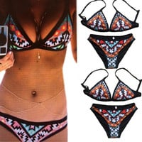 Women's Sexy 2 PCS Digital Print Swimwear Bikini Set Sexy Swimsuit Underwire Beachwear = 1955981700