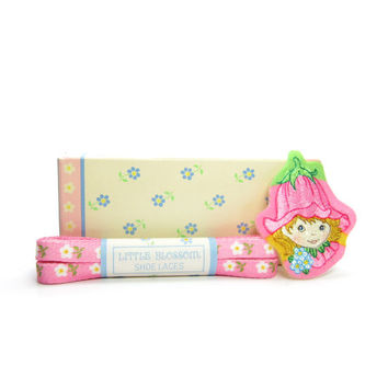 Shoe Laces & Iron-On Patch Avon Little Blossom Vintage Set with Pink Shoelaces, Flower Fairy