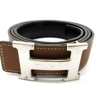 Auth HERMES H Buckle Constance Square K Brown Black Belt Size 95 59425