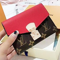 LV Louis Vuitton Fashion New Monogram Leather Wallet Purse Women