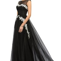 Sunvary Black Tulle Floor Length Evening Prom Dress for Mother of the Bride with Appliques Size 16- Black