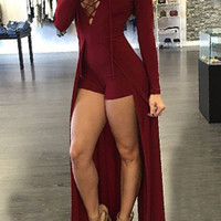Lace Up Design Hollow Out V-Neck Maxi Overlay Romper
