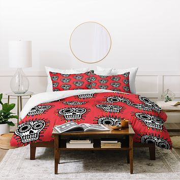 Andi Bird Sugar Skull Fun Red Duvet Cover