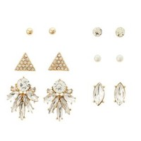 Rhinestone Statement Stud Earrings - 6 Pack by Charlotte Russe - Gold