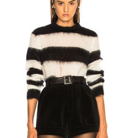 Saint Laurent Mohair Chevron Sweater in Black & Natural | FWRD