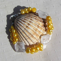"Yellow Freshwater Pearl & Clear Quartz Crystal Gemstone Bracelet  - ""Buttercup"""