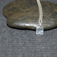 tiny geometric necklace, tiny hammered square necklace, sterling silver dainty necklace, simple minimalist necklace, layering necklace