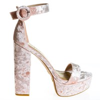 Tournament06M Blush By Bamboo, 70's Retro Block Heel Platform Sandal