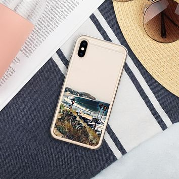 """Malibu Beach"" Liquid Glitter Phone Case Travel Themed Gift"