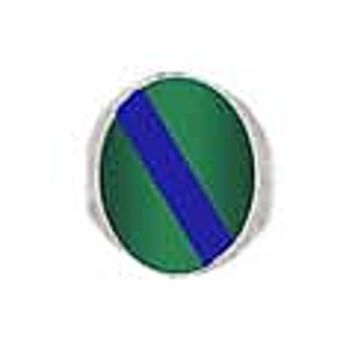 Sterling Silver Oval Chevalier Ring with Lapis Lazuli and Malachite Inserts