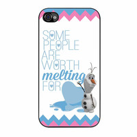 Olaf Quote Melting The Disney Frozen Pink Blue Chevron iPhone 4s Case