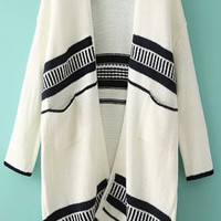 White Striped Knit Fall Style Cardigan