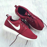 NIKE roshe Women Men Running Sport Casual Shoes Sneakers wine red white hook
