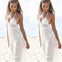 V-neck Backless High Waist Maxi Dress