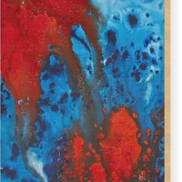 Blue And Red Abstract 3 Wood Print