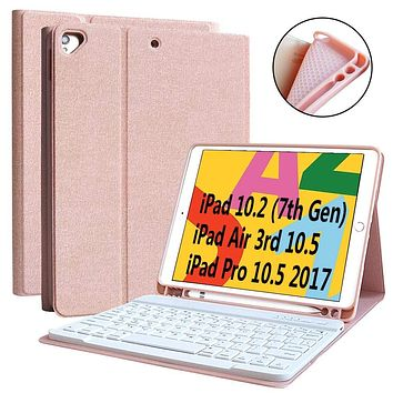 """iPad 7th Generation Case Keyboard 10.2"""" 2019, Keyboard Case for iPad Air 3 10.5"""" 2019 (3rd Gen)/iPad Pro 10.5 inch 2017-Detachable Wireless Bluetooth Keyboard, Magnetic Smart Case with Pencil Holder Rose Gold"""