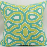 "HGTV turtle shell turquoise decorative throw pillow cover. 20"" x 20"" pillow."