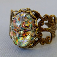 Multiple Color Glass Opal Ring With Antique Brass Adjustable Filigree Ring Band