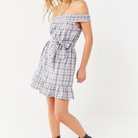 UO Off-The-Shoulder Plaid Ruffle Dress | Urban Outfitters