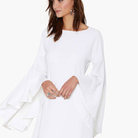 White Bell Sleeve Mini Dress