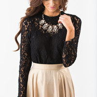 Peyton Black Pearl Lace Top