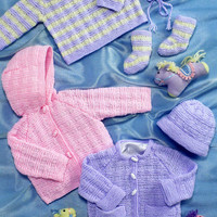"""Baby Jacket, Sweater, Hat & Bootees Knitting Pattern PDF instant download. To fit size 14""""-26: Premature to 5-6 years DK yarn Children knits"""
