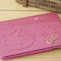 Roseo - Hello Kitty Cute Leather Case for Apple Ipad Mini Cute Hello Kitty Flip Case Cover Stand Angle View for Apple Ipad Mini