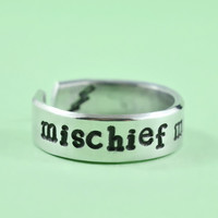 [♡049]  mischief managed - Hand Stamped Aluminum Cuff Ring, Harry Potter Inspired Ring, Personailzed Ring