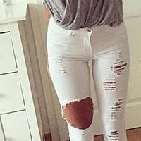 Candy Color Holes Ripped Beggar Fashoin Pencil Jeans