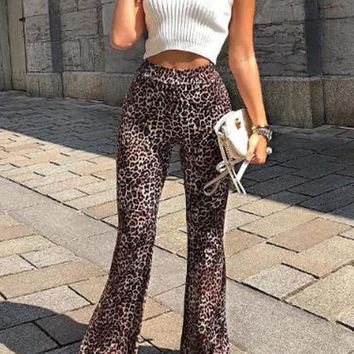 New Pink Leopard Pattern Draped High Waisted Vintage Bell Bottom Flare Long Pants