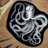 Octopus patch - cthulhu patch, large sew on punk patch, Seapunk, nu goth patch, nu goth fashion lovecraft patch, screen print patch, squid