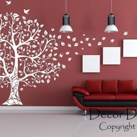 Gorgeous Leaved Bird And Butterfly Tree - by Decor Designs Decals, Wall Decal Flower Tree Wall Decal Butterflies in the Wind Wall Decal Nursery Kids Vinyl Art - Bird