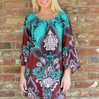 Curry Green Print  Beach Dress
