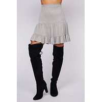 One At A Time Ruffle Mini Skirt (Grey)