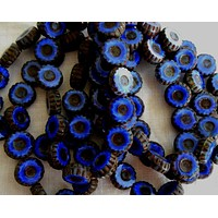 Four Czech table cut, carved, opaque cobalt blue picasso daisy flower beads, 12mm x 4mm, C0804