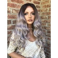 """Icy Ash Blonde Human Hair Blend Multi Parting Balayage Ombré 4x4 SILK BASE Lace front wig 24"""" 5172"""